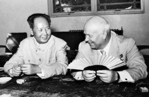 (FILES) This file photo dated August, 1958 shows Soviet Union leader Nikita Khrushchev (R) amusing himself with a Chinese fan while chatting with the Chinese leader Mao Zedong during his visit to China. China will mark 09 September, 2006 the 30th anniversary of the death of the great Chairman Mao, who despite being the architect of the Cultural Revolution that killed millions and took China to the brink of collapse, is still revered by many across China as a god-like figure. AFP PHOTO/XINHUA/FILES (Photo credit should read AFP/AFP/Getty Images)